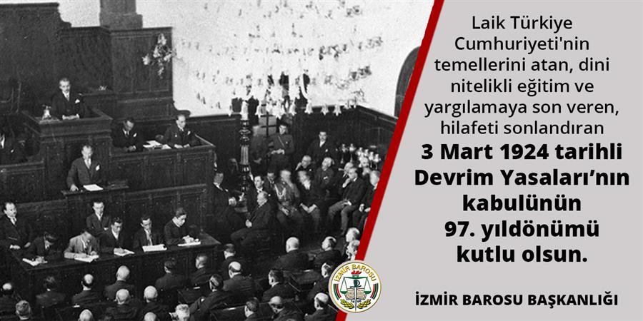 Devrim Yasalarının Kabulünün 97. Yıldönümü Kutlu Olsun