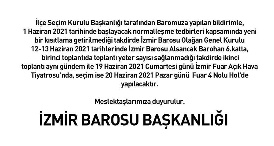 İzmir Barosu Genel Kurulu İlçe Seçim Kurulu Yazısı